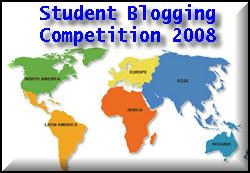 mapa mundi que era o símbolo do primeiro desafio de blogging de estudantes