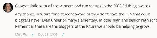 comentário de Sue Wyatt pedindo que os alunos possam ter um prémio no desafio